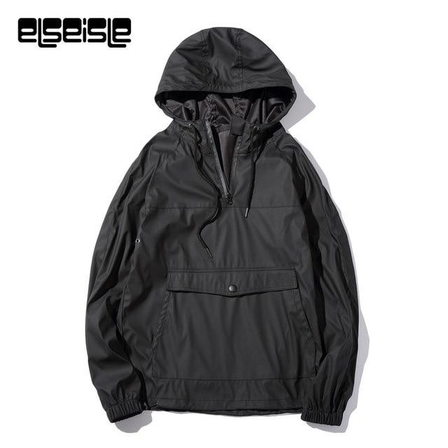 Elseisle Brand Black Hoodie Leather Jacket Men Simple Zipper - Open office invoice template free streetwear online store