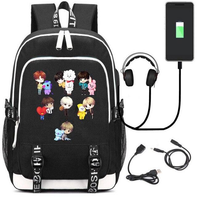 Рюкзак BTS к-поп USB зарядка и кабель бесплатно