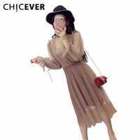 CHICEVER Spring Solid Long Sleeve Temperament Perspective Pleated Mesh Dress Camis Sexy Dresses Women Two