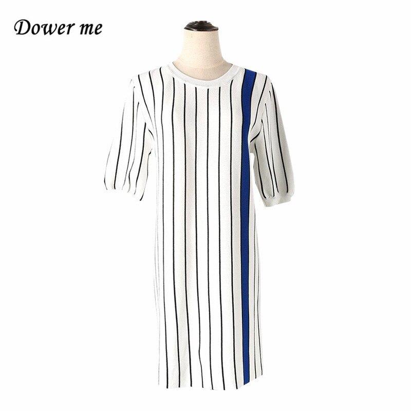Fashion Vertical Striped Knitted Women Dress Vestidos Elegant O-neck Ladies Dresses Female Charming Simple Frocks YN2935