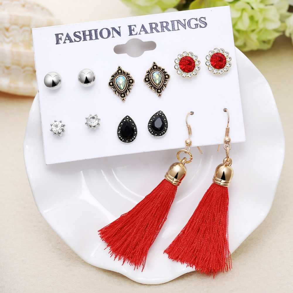 Bohemian Crystal Long Tassel Stud Earrings Fashion Women Flower Simulated Pearl Earring Sets for Female boucle d'oreille