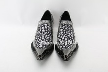 Vintage Mens Genuine Leather Shoes Metal Ponited Toe