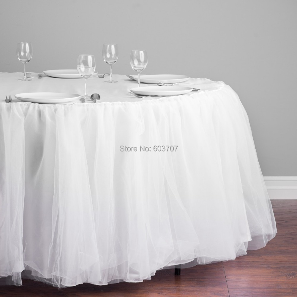 Free Shipping Tulle TutuOrganza  Satin Table Cloth Table Skirting Table Skirt for 60 Dia