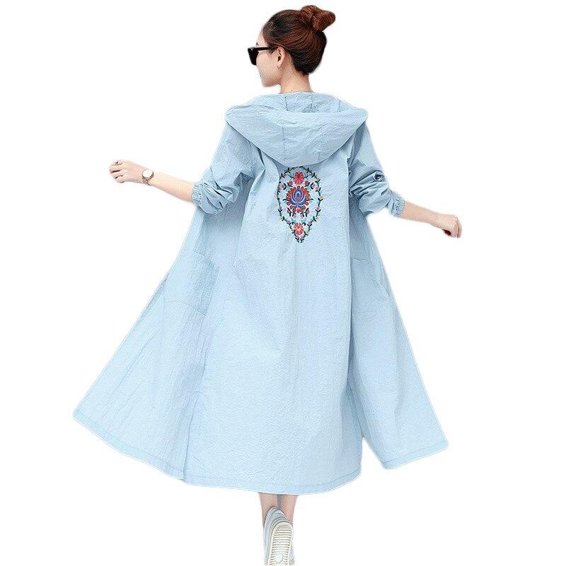 2019 New Summer Women Coat Thin Hooded Female windbreaker Loose Cardigan Long   Trench   Coat Embroidery Flower Outerwear L298