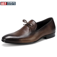 US 6-11 Big Size Mens Pointed Toe Oxfords Genuine Leather High-end Formal Dress Shoes Business Man Bowknot Wedding Shoes цены онлайн