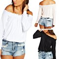 Women Casual Cotton Solid Slash Neck Top Long Sleeve Off-Shoulder Sexy T-Shirt