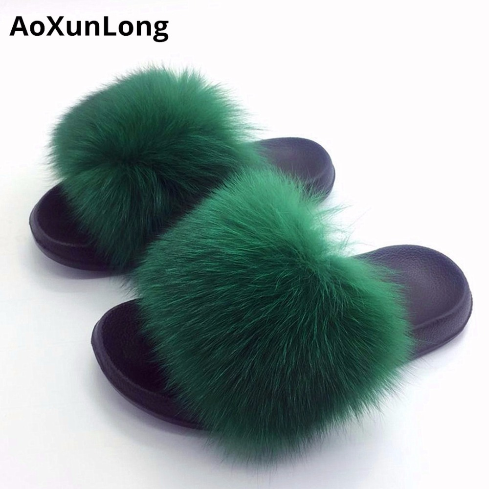 08e35674abe0 AoXunLong Fox Fur Slides Slippers Women Fur Slippers Shoes Chinelo Feminino  Pantoufle Femme Chinelo Bayan Terlik