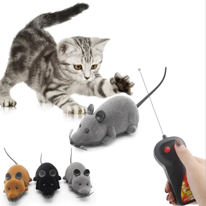 Electronic Toys Electronic Pets Toys Funny Pet Cat Mice Toy Wireless RC Gray Rat Remote Control Mouse Playing Interactiv Doll