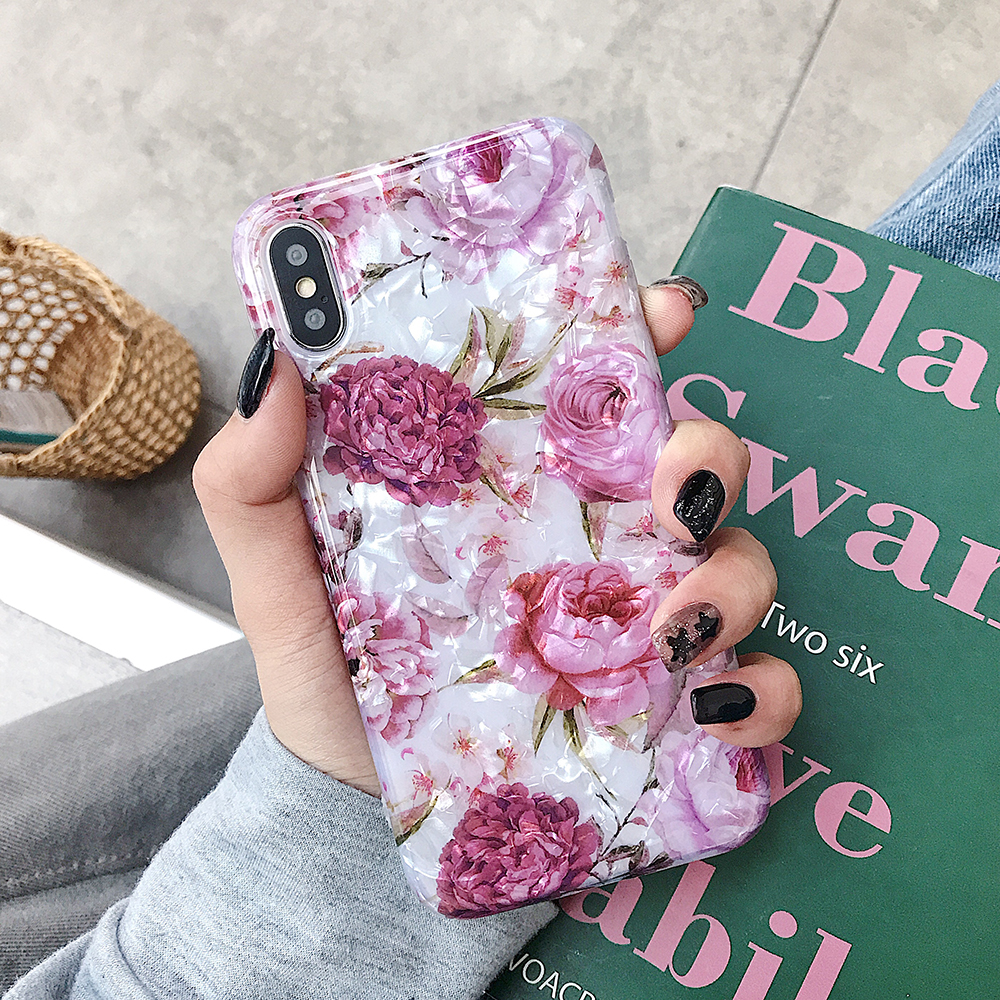 LOVECOM Retro Floral Ring Stand Phone Case For iPhone Models 31