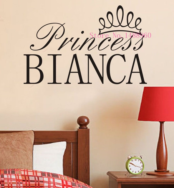 E Princess Crown Girl Sleeping Custom Name Wall Stickers Decal - Custom vinyl stickers for girls
