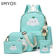 Fashion School bags Girls Canvas Backpacks 5Pcs/Set Casual Children Bags Ladies Knapsack for Teenagers