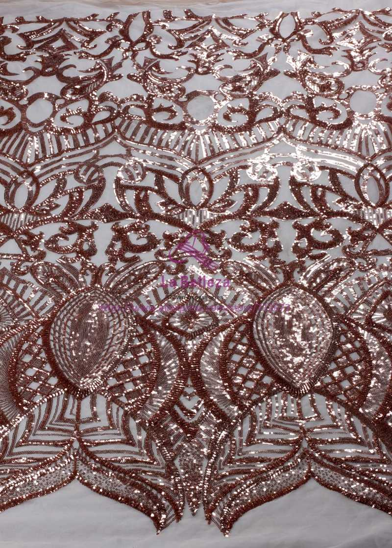 La Belleza 1 yard Champgane oro/verde/nero/rosso su nude net ricamo paillettes sera/cerimonia nuziale abito di pizzo tessuto 51''
