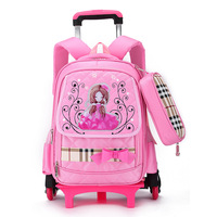 Princess school bag with wheel Removable backpack orthopedic schoolbags trolley book bags lovely girls boys grade bag 4 colors