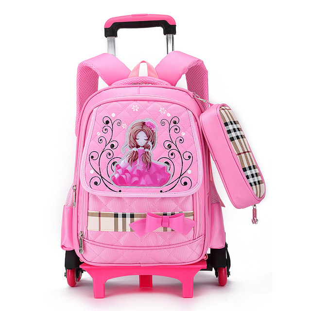 Princess school bag with wheel Removable backpack orthopedic schoolbags  trolley book bags lovely girls boys grade bag 4 colors 5e1408c34b379
