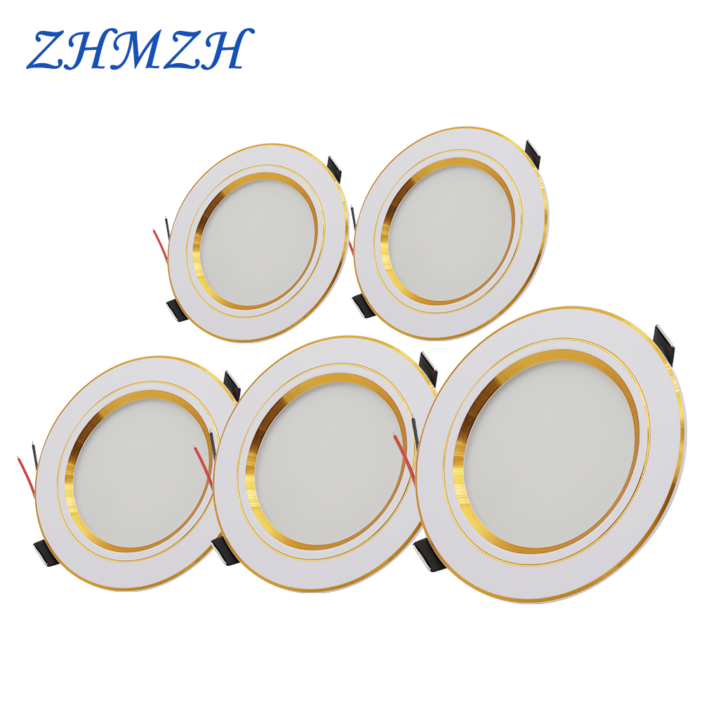 AC220V LED Downlight Recessed Round Gold Ceiling Light 5W 9W 12W 15W 18W White/Warm white Aluminum LED Down Lamp Ultra Thin
