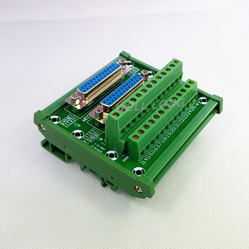 D-SUB DB25 DIN Rail Mount Interface Module, Double Female Header Breakout Board, Terminal Block, Connector. db25 d sub female 25pin plug breakout pcb board 2 row terminals connectors