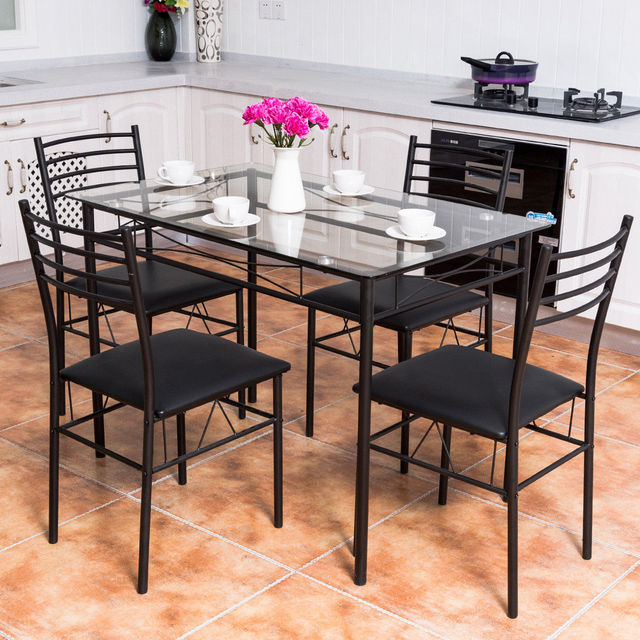 5PC Dining Set Modern Dining Room Tempered Glass Top Table & 4 Upholstered Dining Chairs Kitchen Furniture HW61400 2