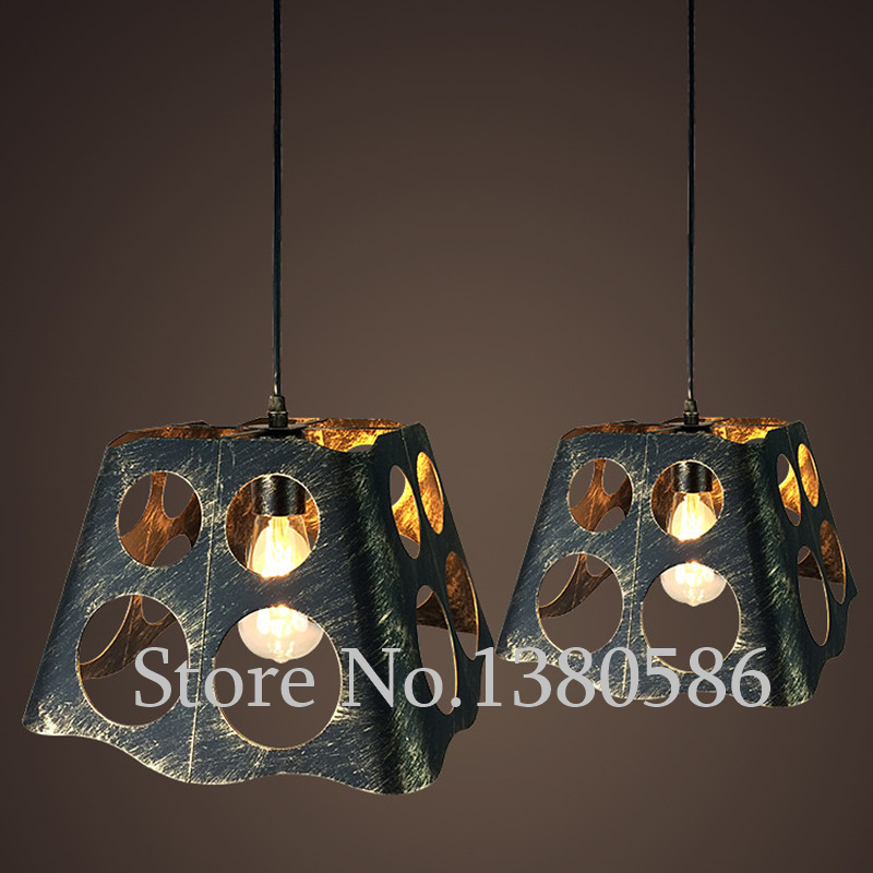 Vintage Creative personality bird cage Pendant Light E27 iron Retro crystal Pendant Lamp Handing light for Restaurant Coffee Bar