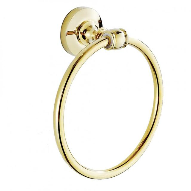 Antique Gold Polished Towel Ring Solid Br Simple Wall Mounted Holder Round Base For