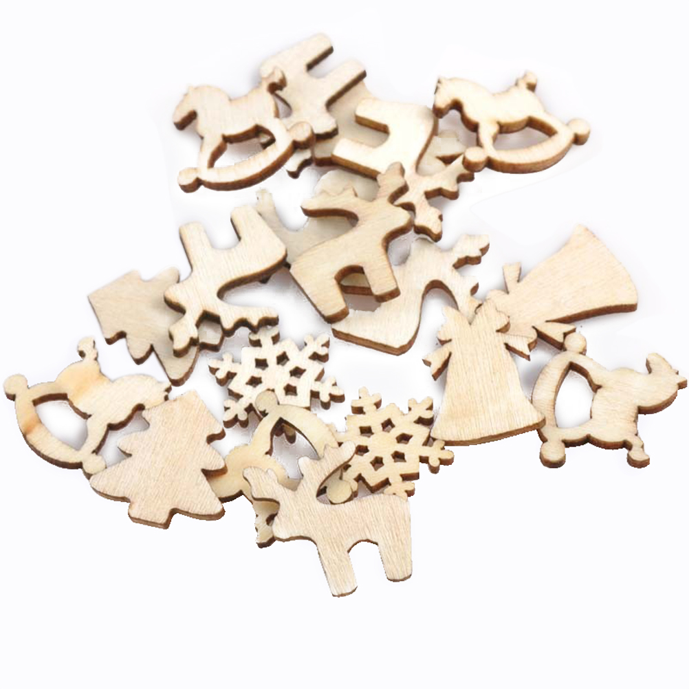 150Pcs Mix Christmas Discs Pattern Wooden Log Slices for DIY Crafts ...