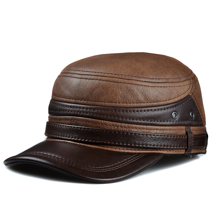 RY110 New 2018 Spring Men Genuine Leather Ceiling Earmuffs Flat Hat Male Keep Warm Leisure 57-60 cm Adjustable Cow Skin Caps hl171 f spring genuine leather baseball sport cap hat men s winter warm brand new cow skin leather newsboy caps hats 5 colors