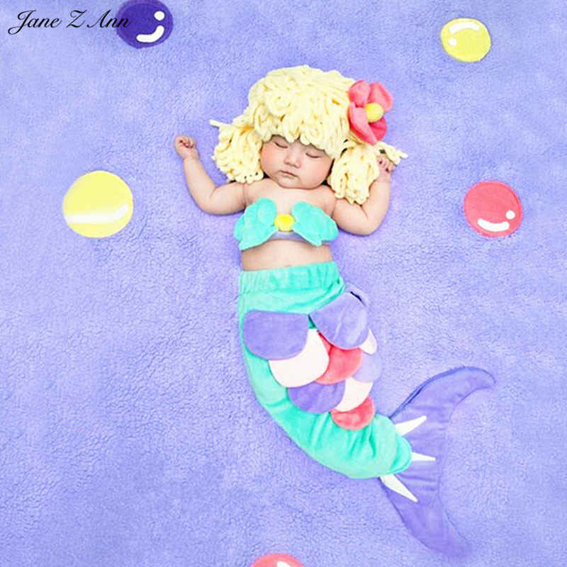 Jane Z Ann Baby plush mermaid costume infantil toddler mermaid 3pcs clothes hat+bra+tail ...