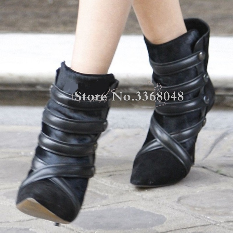 Shoes Autumn Winter For Women Sexy Pointed Toe Rivets Studded Stappie Heels Ankle Boots Slip On Gladiator British Style ShoesShoes Autumn Winter For Women Sexy Pointed Toe Rivets Studded Stappie Heels Ankle Boots Slip On Gladiator British Style Shoes