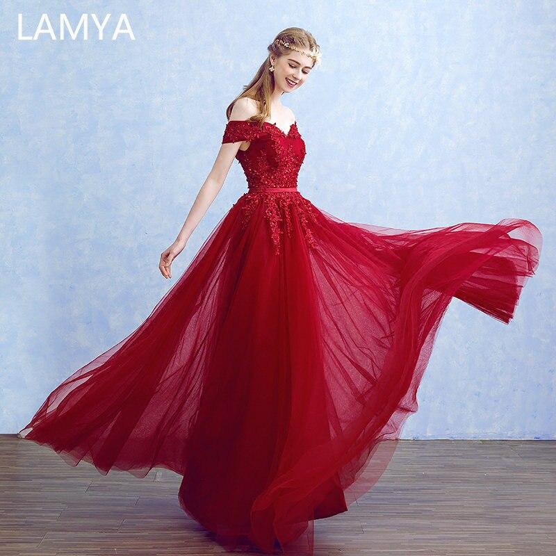 Lamya 2019 New Women Prom Long   Evening     Dresses   Elegant Lace Boat Neck Banquet Formal Party Gowns vestido de festa longo