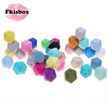 Fkisbox 17 мм шестигранник 100 шт силиконовый детский Прорезыватель для зубов, бусы без бисфенола для новорожденных, жевательные прорезыватели для зубов, ожерелье, ювелирные изделия для младенцев, сделай сам, подарок для душа