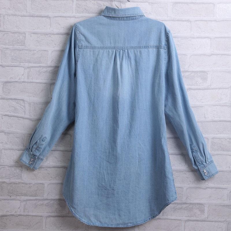 Taille picture Jean Chemise Col Plus Demin Printemps Bleu Color Vintage Blouse Shirt La Casual Color Nouveau Picture Cowboy down Longues 2018 Turn Femme Manches P6nBx
