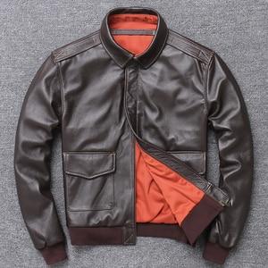 Image 1 - Frete grátis, jaqueta de couro genuíno masculina casual, jaqueta piloto de bombardeiro estilo a2. casaco de couro masculino. plus tamanho. atacado. qualidade