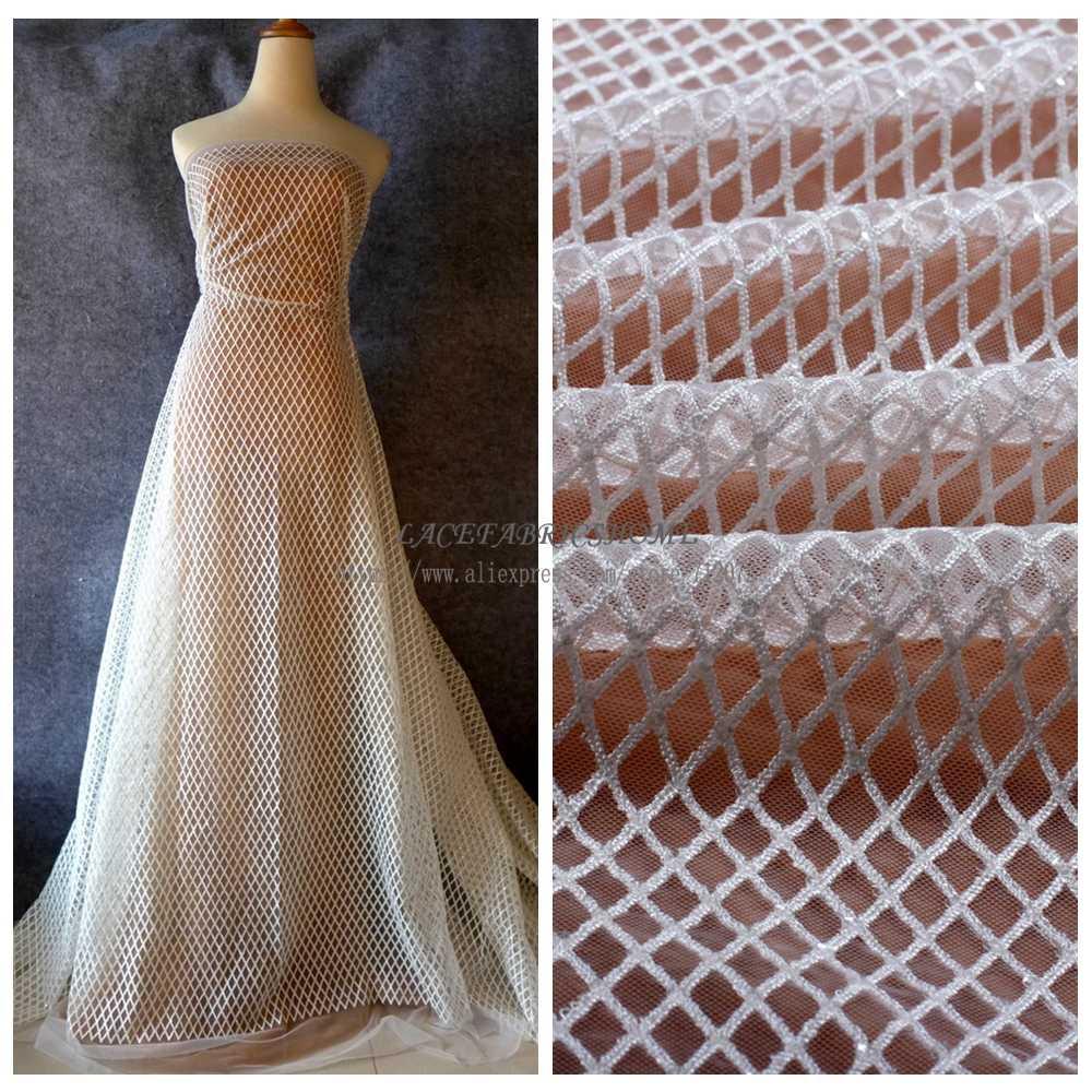 La Belleza ağır işlemeli Şeffaf payetler beyaz net düğün elbisesi/gece elbisesi astar kumaş 51 ''genişlik