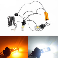 2pcs T20 7440 2835 42 SMD CANBUS Car LED DRL Daytime Running Light Dual Color Switchback