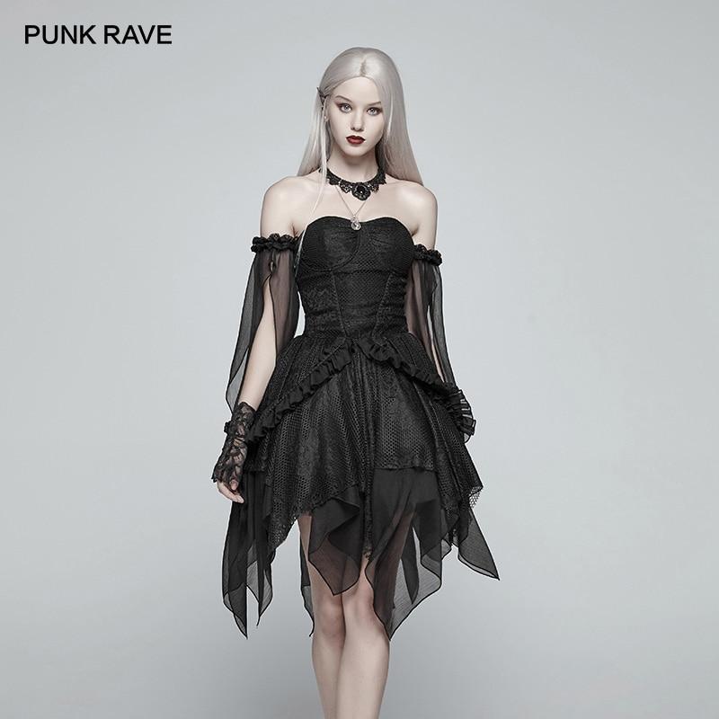 PUNK RAVE mujer Lolita elfo negro transparente Split Chiffon vestido gótico mangas fuera del hombro asimétrico capas vestido de Club-in Vestidos from Ropa de mujer    1