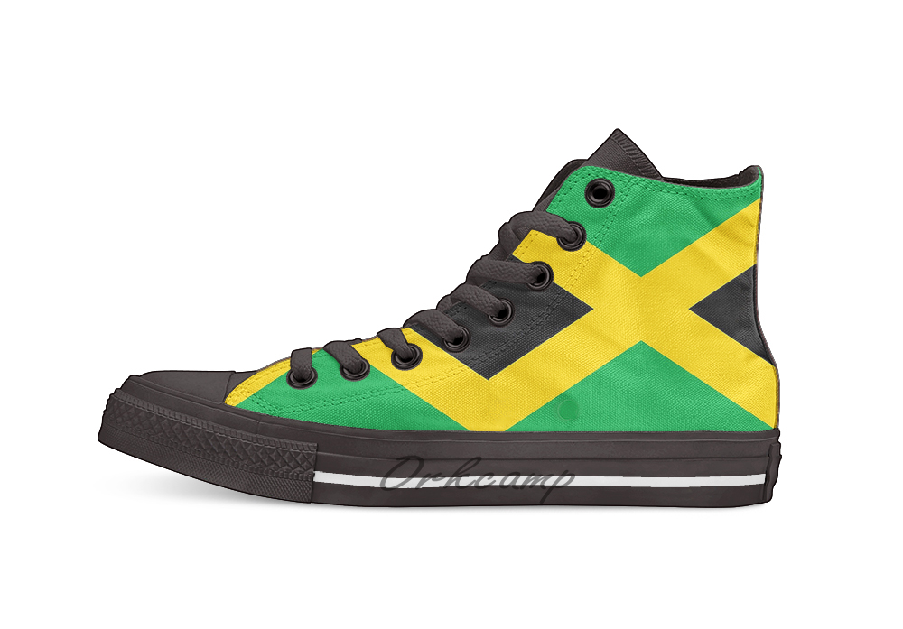 Flag of Jamaica High Top Canvas Shoes Flat Casual Custom Unisex Sneaker Drop Shipping