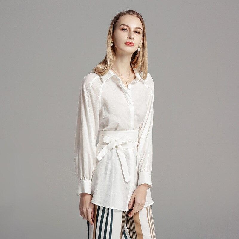 2019 femmes blouse printemps nouveau tempérament de mode élégant blouse simple taille femmes coton blanc cardigan chemise haut L27