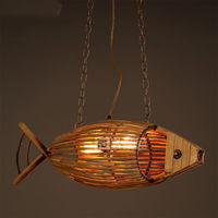 Сельских Винтаж E27 рыбный ресторан ткань Деревянный светильник потолочный светильник Droplight освещения Декор Лофт коридор кафе бар магазин д