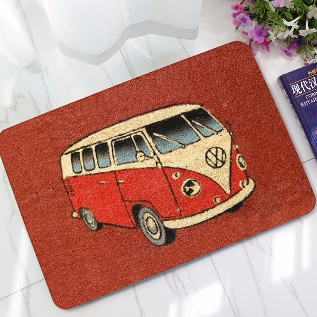 CAMMITEVER Carpet Anti slip Floor Mat Cartoon Bus Home Rugs Print Bathroom Kitchen Door Mat