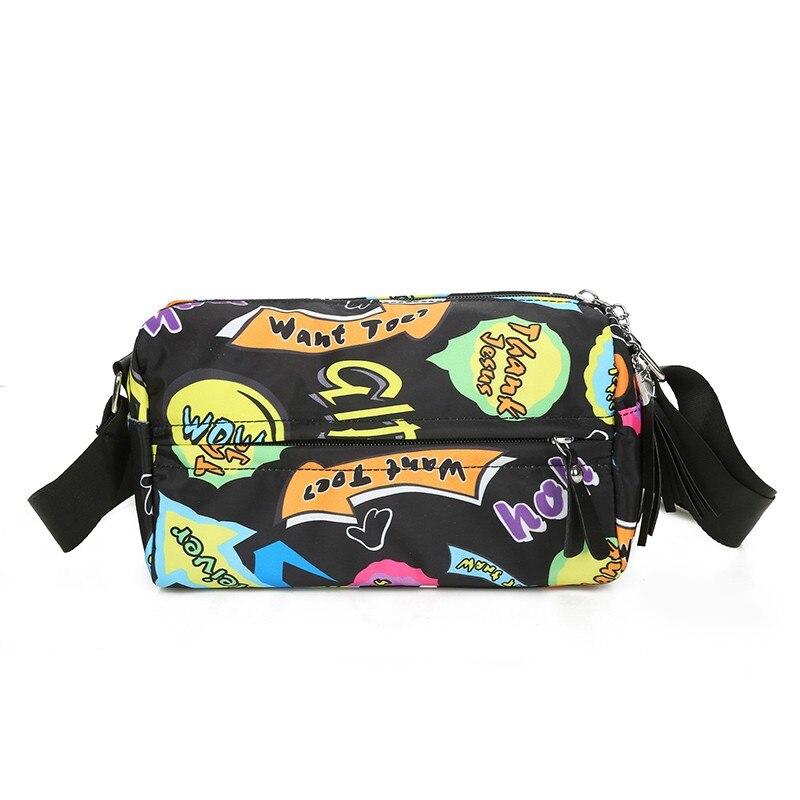Womens fashion floral messenger bag New 2017 tassel vintage bag Rural style cloth crossbody bag Brand waterproof nylon flap bag
