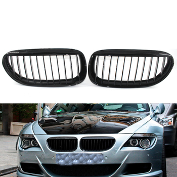 2X Gloss Black Front Grille Grill for BMW E63 Coupe/E64 Convertible LCI M6 650i 645Ci 2 Door Coupe 51137008915,51137008916 image