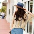 2 colores de moda sombrero de sol mujeres \ ' s de verano plegable de paja sombreros para mujeres Beach Headwear
