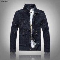 Military Style Men Bomber Jean Jackets Male Hip Hop Casual Jacket Men Oil Painted Slim Coat
