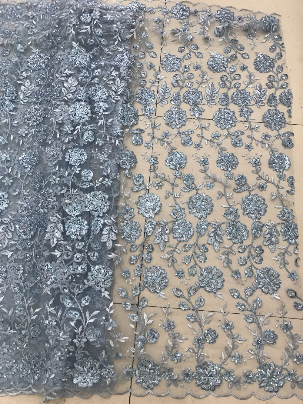 African French Lace Fabric High Quality 2018 Fashion French Sequins Lace Fabric for Women Dress in Lace from Home Garden