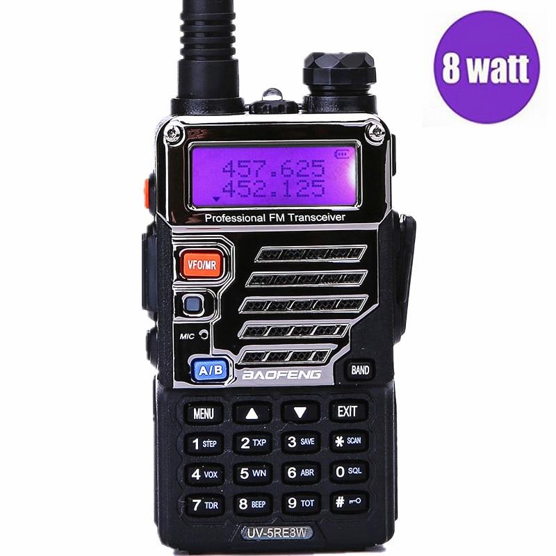 Baofeng UV-5RE 8 watts Haute Puissance talkie walkie 10 km longue portée 2800 mah Batterie puissant extérieure Two Way Radio uv5re pour la randonnée