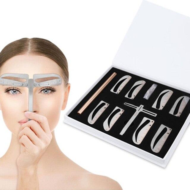 1 zestaw regulowana pozycja regulacja brwi Eye brow Measure Balance Extension linijka kształt wzornik maszynka do tatuażu szablon praktyki
