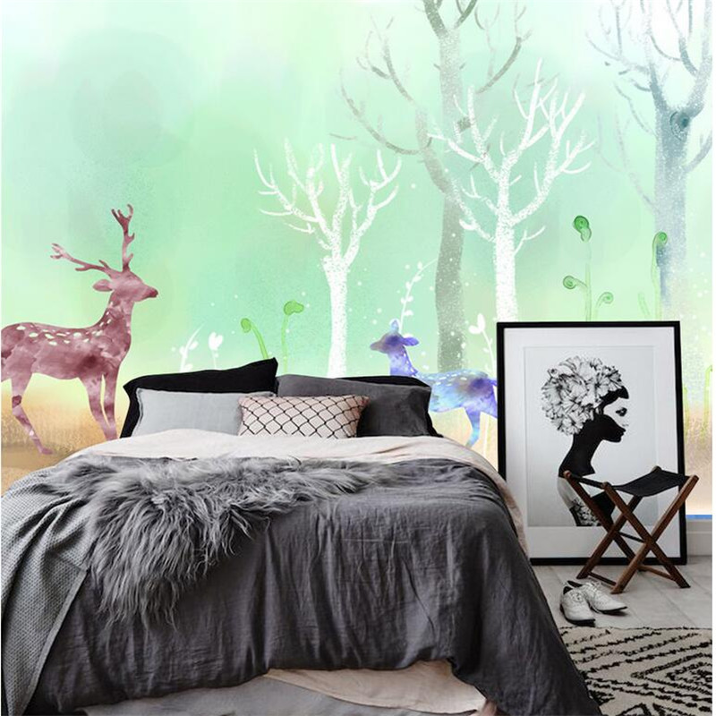Custom Forest Wall Paper Elk Large Wall Murals Environment Friendly Embossed Non-Woven TV Background Wall Mural Wallpaper free shipping borges suspended large scale non woven paper art wallpaper murals custom size