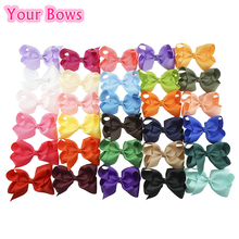 Your Bows 40Pcs 30Colors 4Inch Solid Grosgrain Ribbon Hair Bow Girls Hair Clips Boutique Bows Hairpins For Kids Hair Accessories