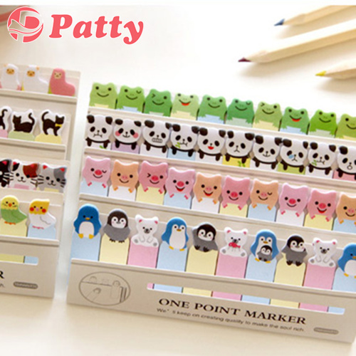 100 pcs Lot Kwaii animal post sticker Cute sticky notes Memo marker Office material school sticker