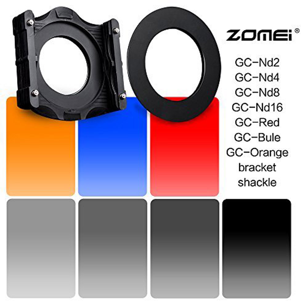 Zomei 9 in1 Square Z-PRO Series Filter Holder Support + Adapter Ring+Gradual grey ND2 ND4 ND8 ND16 +Gradual (bule red Orange) цена