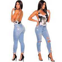 2019 summer New Zealand hot new fashion personality blue shabby hole casual high waist sexy women small feet jeans